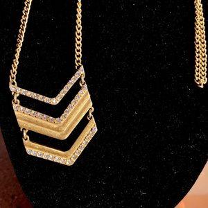 Gold Tone Chevron Rhinestone J. Crew Necklace